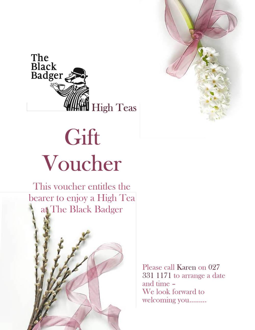 high teas gift voucher